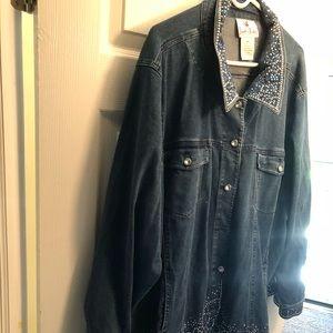 Quacker Factory Denim Jeans Jacket embellished 3X